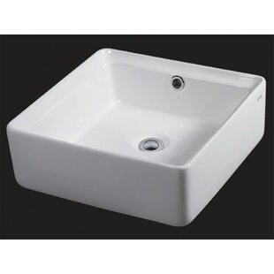 EAGO Ceramic Square Vessel Bathroom Sink with Overflow