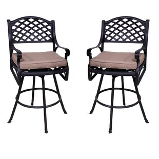 Darby Home Co Amelio Patio Bar Stool with Cushion (Set of 2)