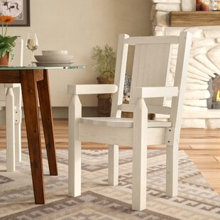 Abella Rustic Hand-Crafted Captain's Solid Wood Dining Chair Loon Peak
