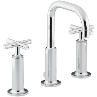 Kohler Purist Widespread Bathroom Sink Faucet with High Cross Handles and Low Gooseneck Spout