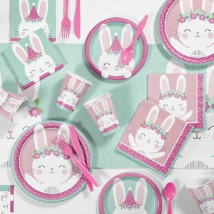 Mckee Bunny Party Birthday Paper/Plastic Party Supplies Kit