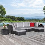 Kenya 8 Piece Rattan Sectional Seating Group With Cushions By Rosecliff Heights Newshopfurnitures