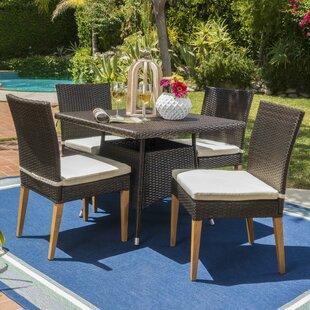 Latitude Run Saurabh Contemporary Outdoor 5 Piece Dining Set with Cushions