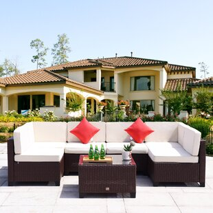 Corinth 7 Piece Rattan Sectional Set with Cushions