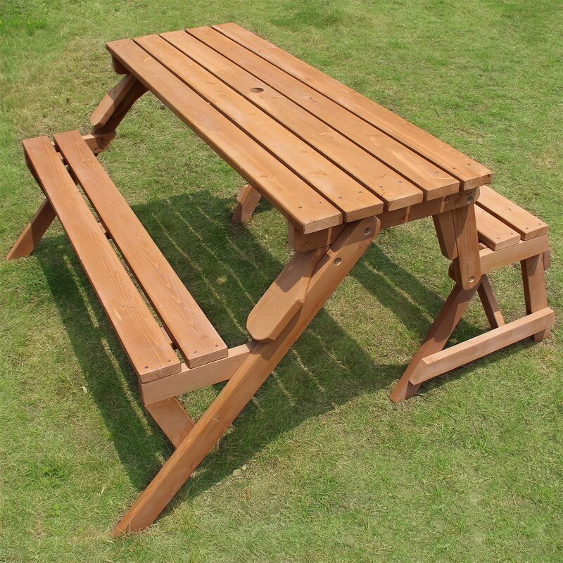 Groovy Dreiling Convertible Wood Picnic Table Garden Bench Ncnpc Chair Design For Home Ncnpcorg