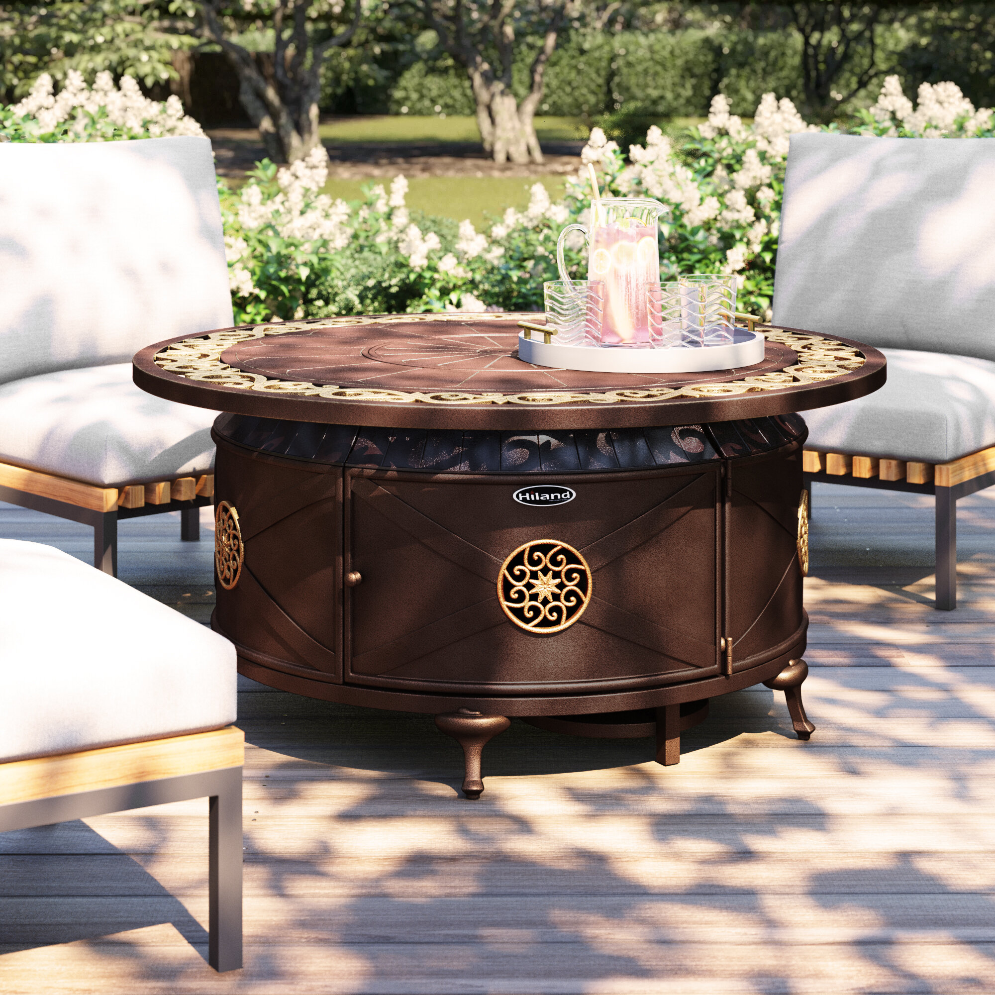Ebern Designs Sorrels Aluminum Propane Fire Pit Table Reviews Wayfair