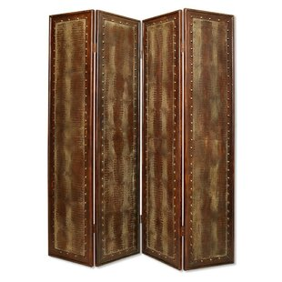 Shipton Faux-Leather 4 Panel Room Divider by World Menagerie