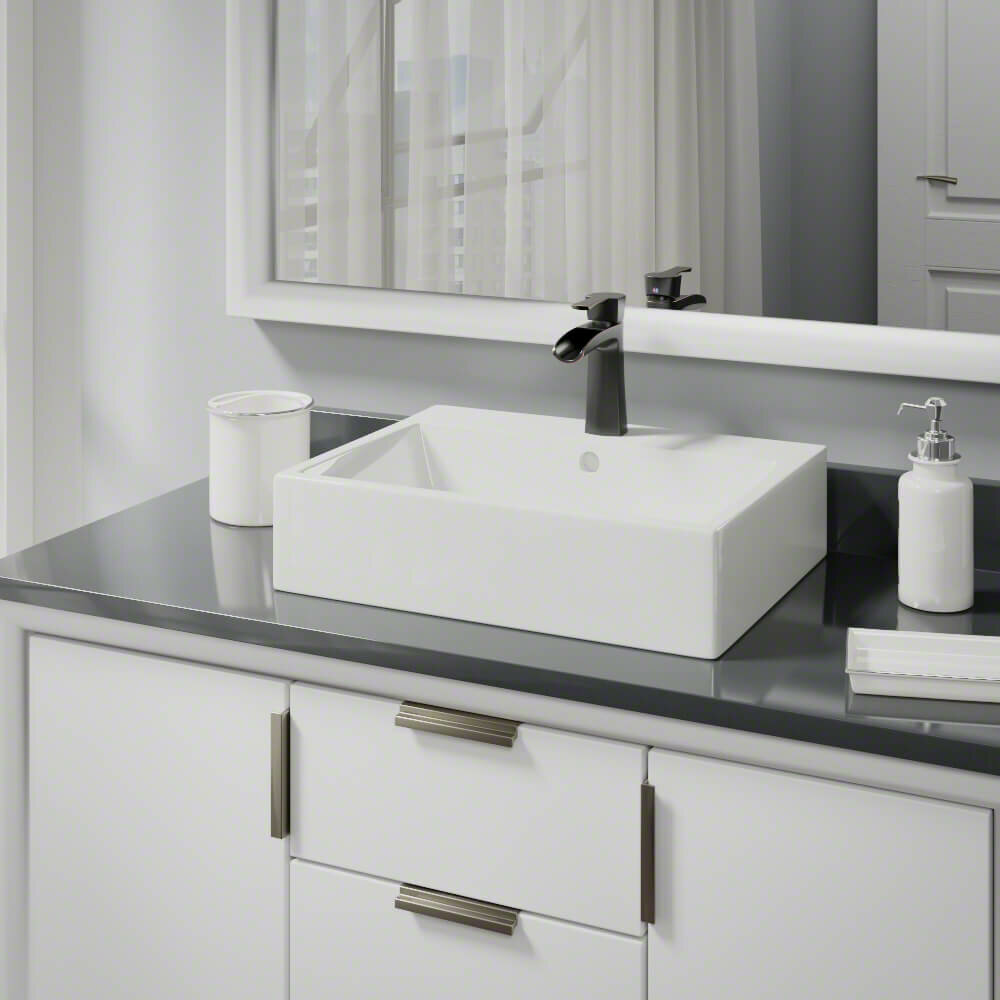 René Vitreous China Rectangular Vessel Bathroom Sink With Faucet And Overflow Wayfair
