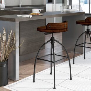 Compare prices Delacruz Adjustable Height Bar Stool by Williston Forge