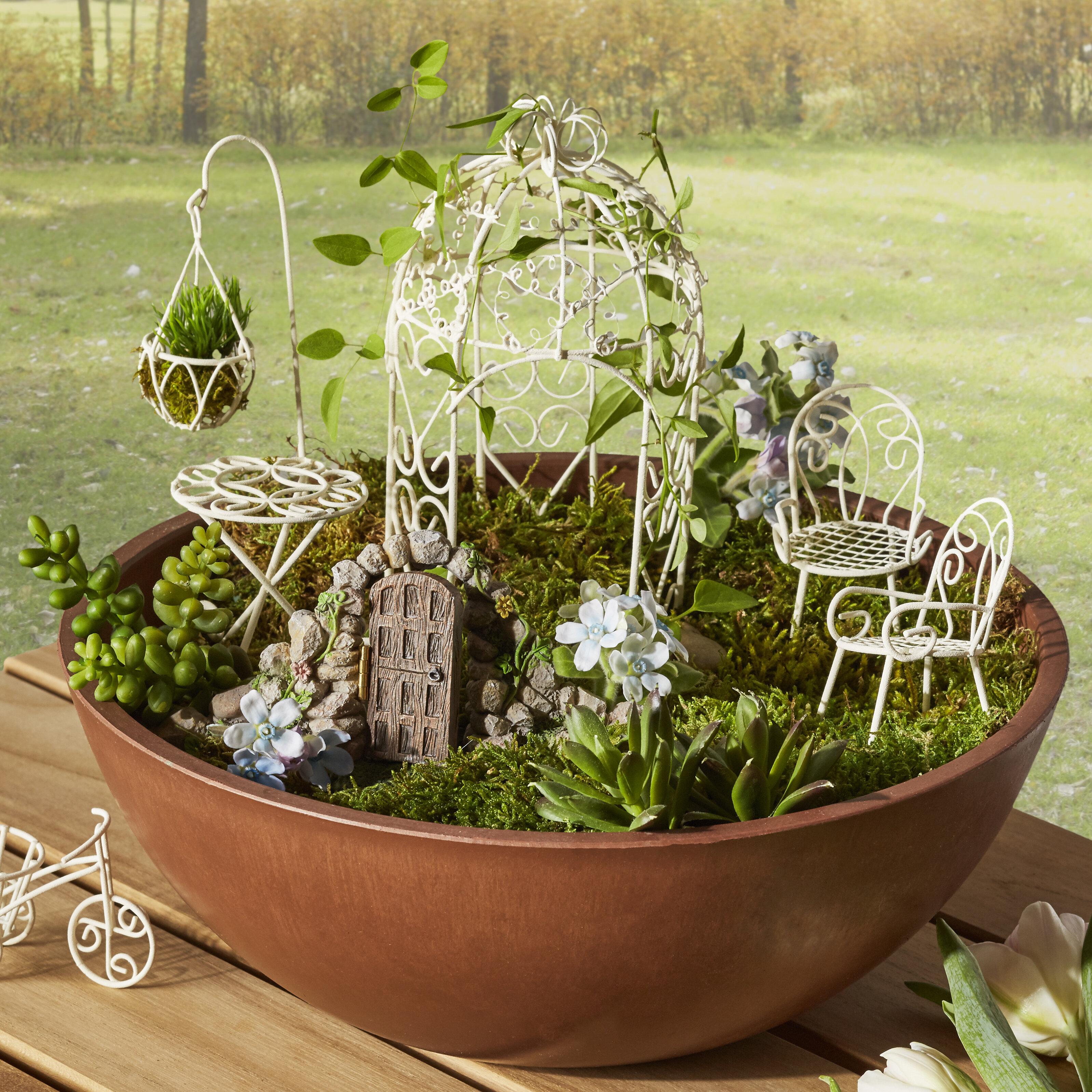Fairy Garden 1 to 4 inches tall for Miniature Garden 15 Piece Set Pine Trees