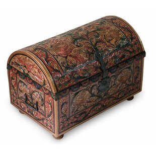 Bloomsbury Market Paraiso Royal Lion Wood and Leather Trunk