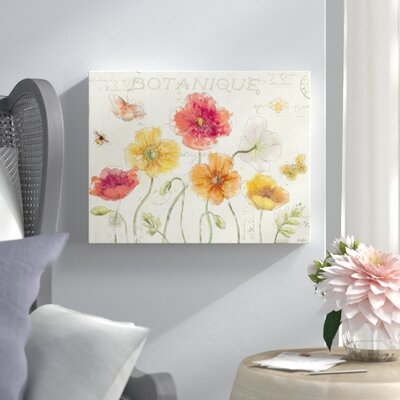 """Painted Poppies I Framed Painting Print on Wrapped Canvas Lark Manor Size: 18"""" H x 24"""" W x 2"""" D"""