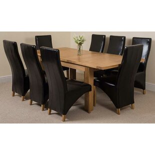 Review Sairsingh Kitchen Solid Oak Dining Set With 8 Chairs