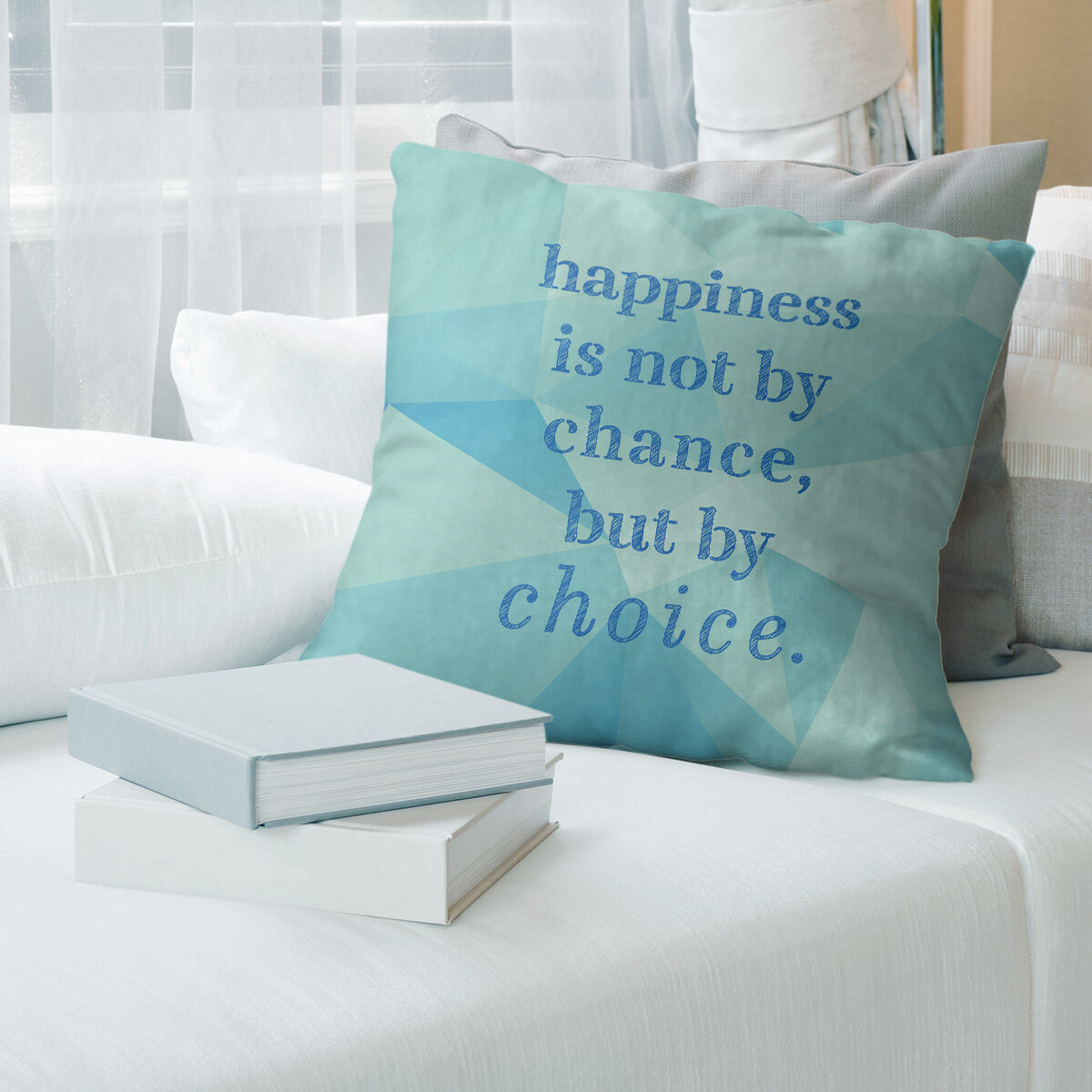 East Urban Home Faux Gemstone Happiness Inspirational Quote Pillow Wayfair