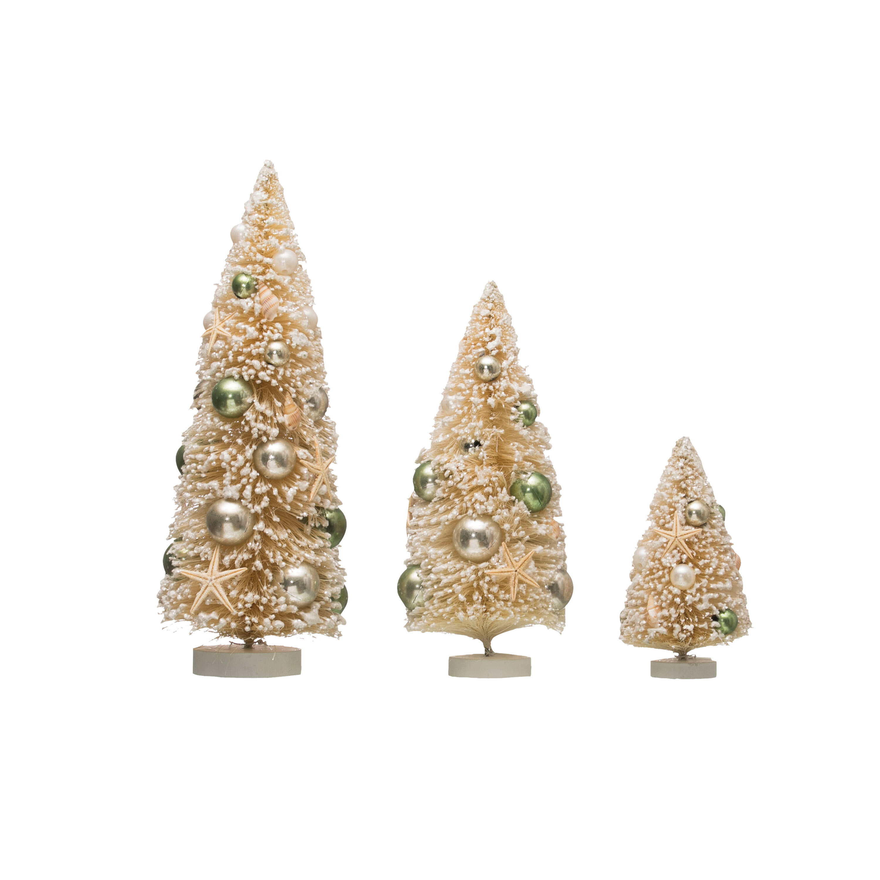 The Holiday Aisle 3 Piece Bottle Brush Trees With Shells And Ornaments On Wood Base Set Wayfair