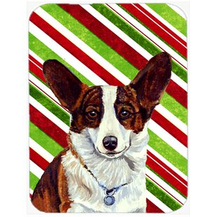 Corgi Candy Cane Holiday Christmas Glass Cutting Board By Caroline's Treasures