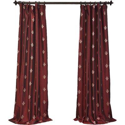 "Half Price Drapes Trophy Syrah Embroidered Faux Silk Taffeta Curtain Colour: Syrah Red, Size per Panel: 50"" W x 120"" L"