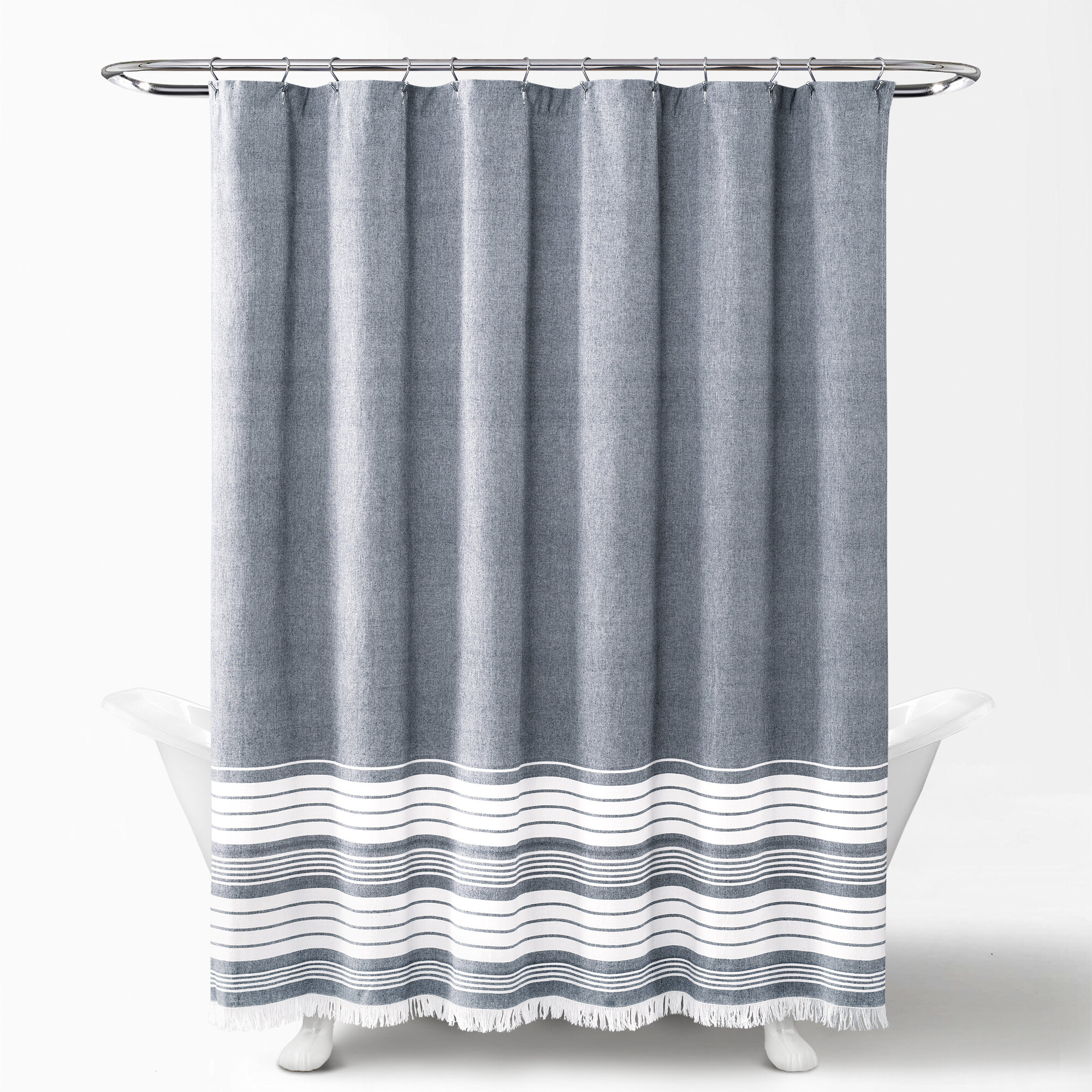 Marston Yarn Dyed Tassel Fringe 100 Cotton Single Shower Curtain