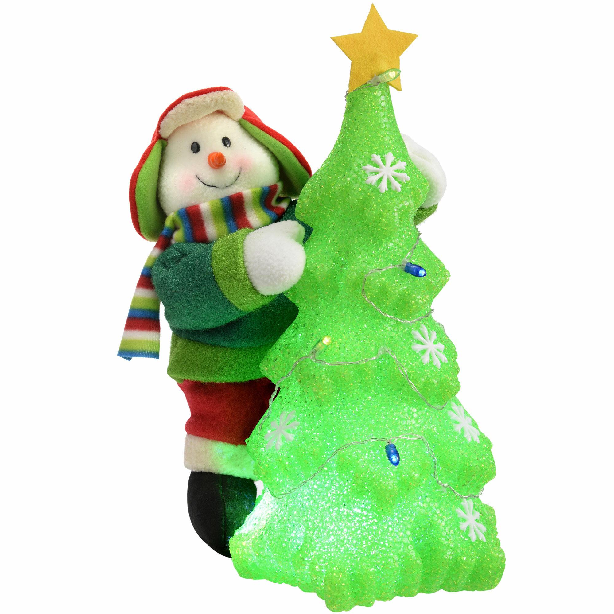 The Seasonal Aisle Pre-Lit Snowman Christmas Tree with Colour ...
