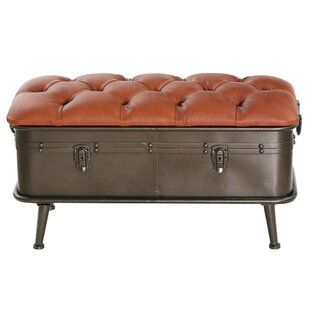 Medina Faux Leather and Metal Storage Bench by Williston Forge