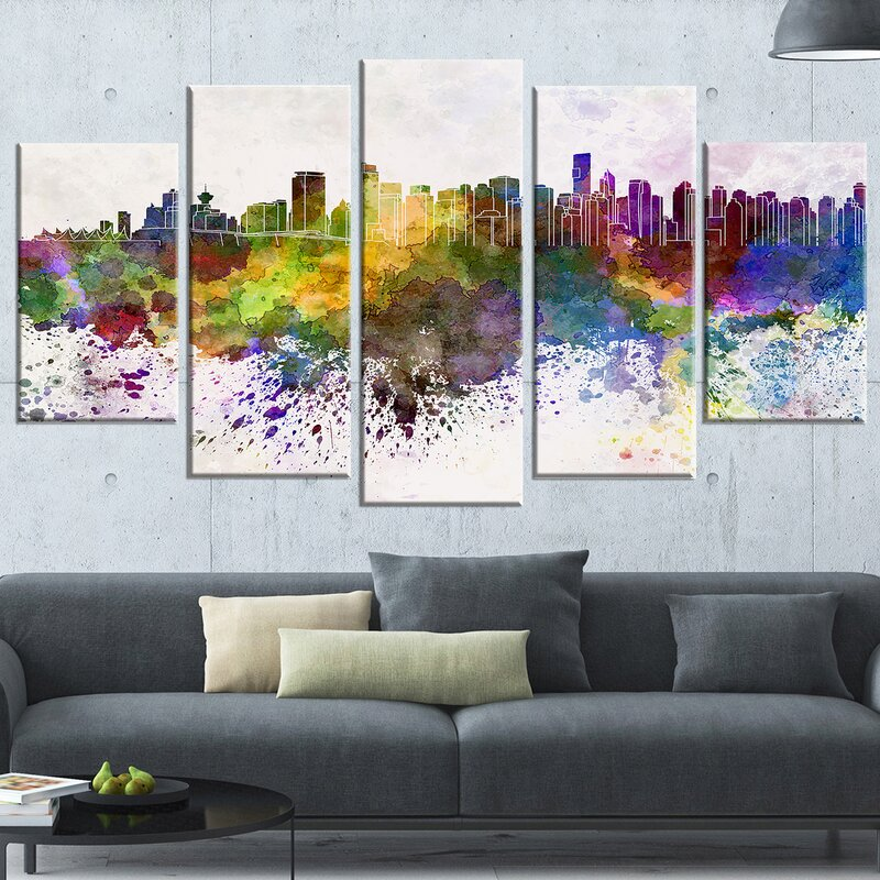 Vancouver Skyline 5 Piece Wall Art On Wrapped Canvas Set