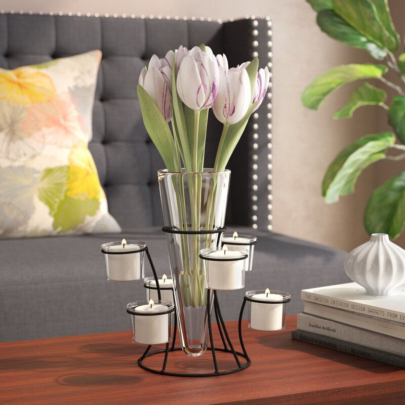 Winston Porter Coss 10 75 Glass Candle And Flower Centerpiece