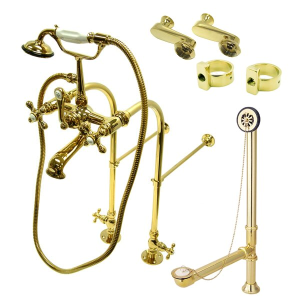 Kingston Brass Vintage Double Handle Wall Mounted Clawfoot Tub Faucet Trim With Handshower Perigold