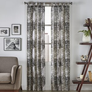 Brampton Tropical Nature/Floral Semi Sheer Tab Top Curtain Panels (Set Of 2
