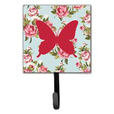 Butterfly Shabby Elegance Roses Leash Holder and Wall Hook by Caroline's Treasures