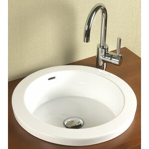 Round Semi Recessed Ceramic Recessed Self Rimming Bathroom Sink