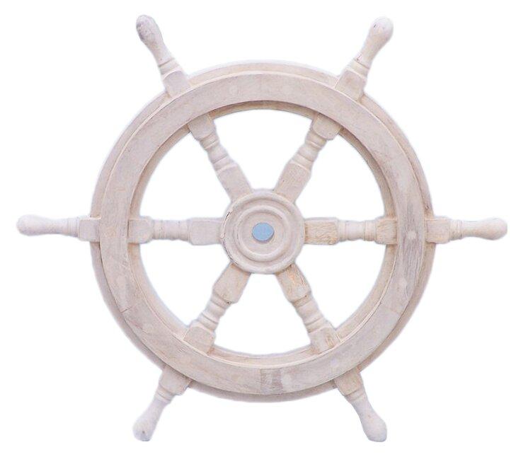 Breakwater Bay White Wood Ship Wheel