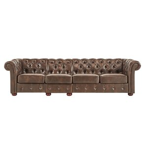 Gowans Traditional 4-Seater Button-Tufted Chesterfield Sofa by Three Posts