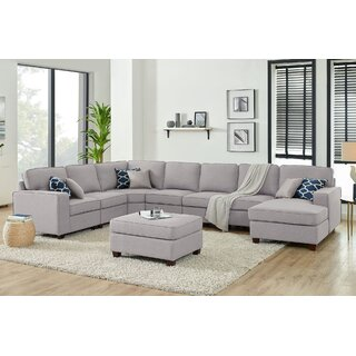 Alsace Right Hand Facing Modular Sectional with Ottoman by Ebern Designs SKU:EA151961 Purchase