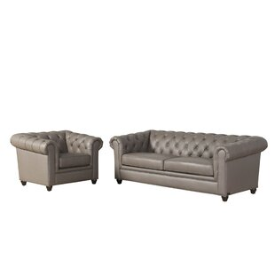 Darby Home Co Andria 2 Piece Leather Chesterfield Living Room Set