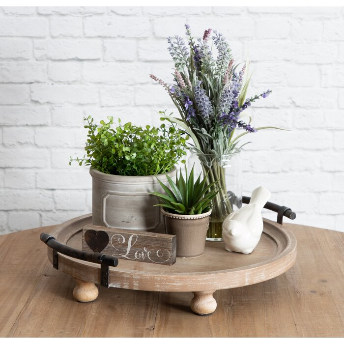 Oxfordshire Round Wooden Footed Coffee Table Tray