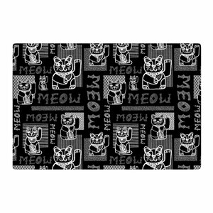 Jane Smith Meow Repeat Black/White Area Rug