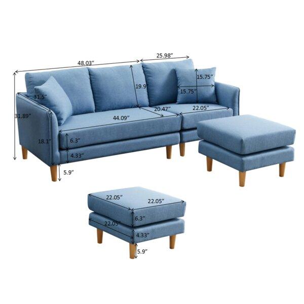 "Leffler 74.01"" Wide Flared Arm Sofa"
