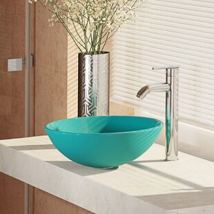 René By Elkay Glass Circular Vessel Bathroom Sink with Faucet