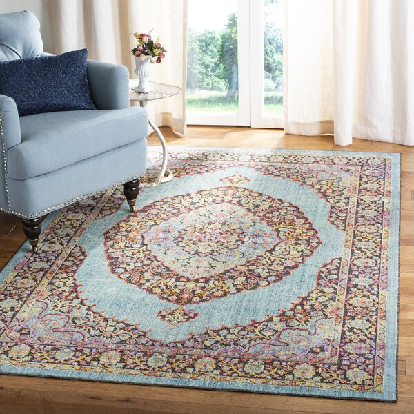 World Menagerie Younes Oriental Aqua Red Yellow Area Rug Wayfair