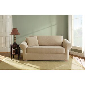 Sure Fit Box Cushion Loveseat Slipcover (Set of 2)
