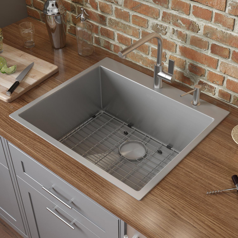 Ruvati Tirana 25 L X 22 W Drop In Kitchen Sink With Basket Strainer Reviews Wayfair