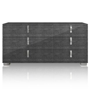 Salerno 6 Drawer Double Dresser with Mirror