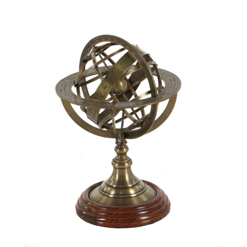 Lovely Engraved Brass Tabletop Armillary Nautical Sphere Globe