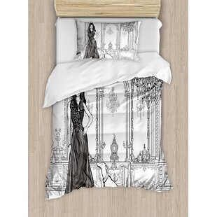 Sexy Fashion Woman in Victorian Palace with Dog Baroque Illustration Duvet Set by East Urban Home