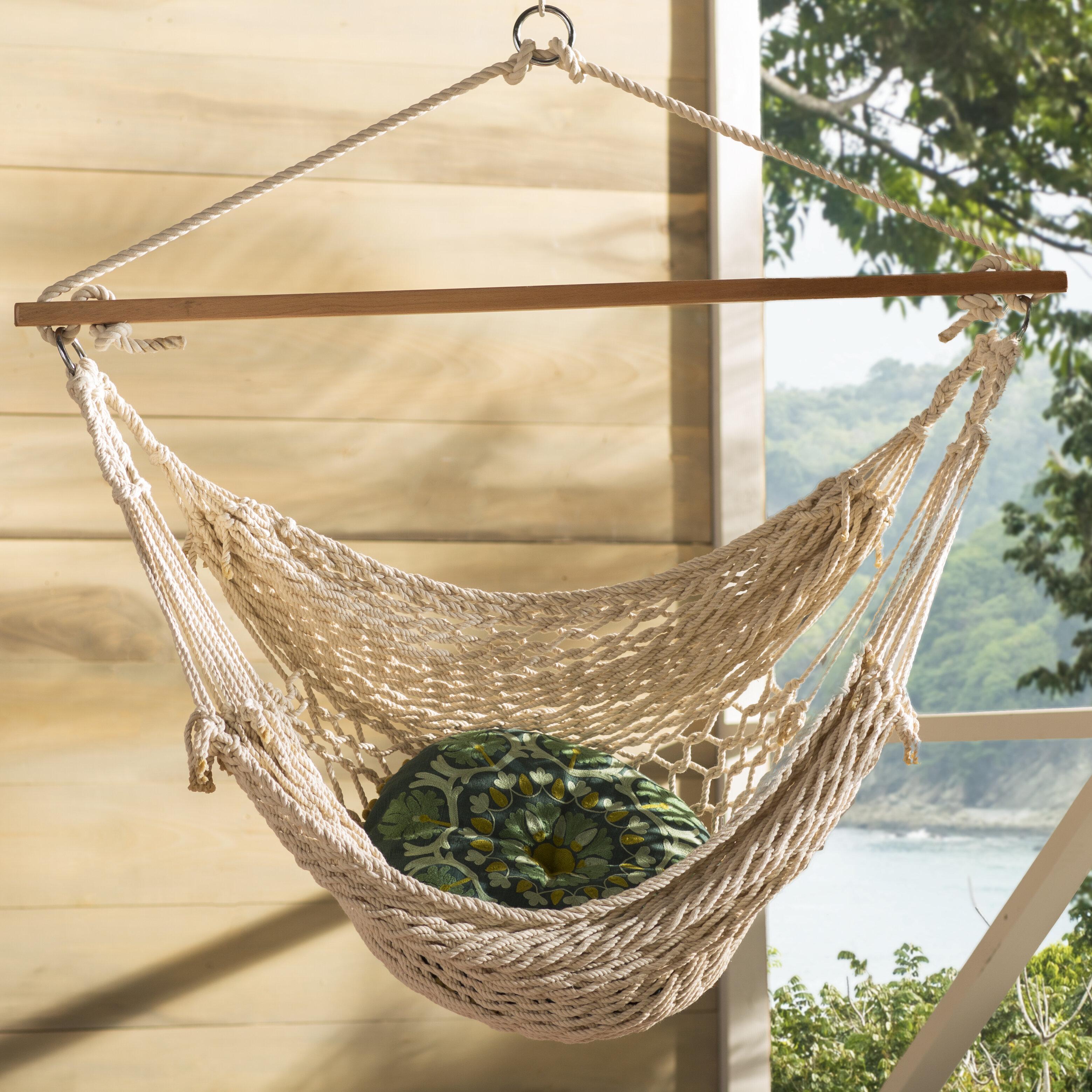 Caribbean Patio Hammock Chair Woven Rope w 44 in Spreader Bar Backyard Tree Hang