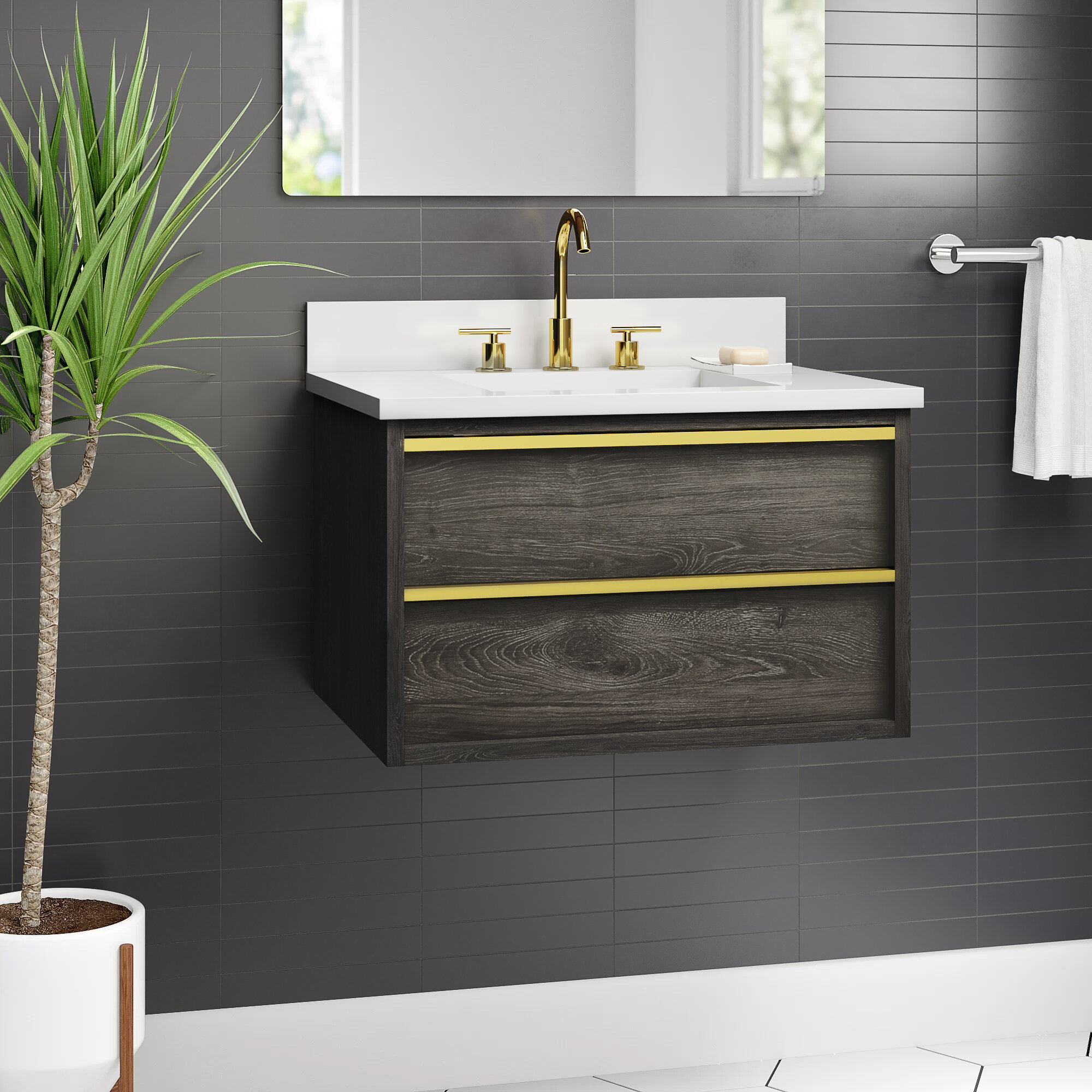 Hoye 30 Wall Mounted Single Bathroom Vanity Set Reviews Allmodern