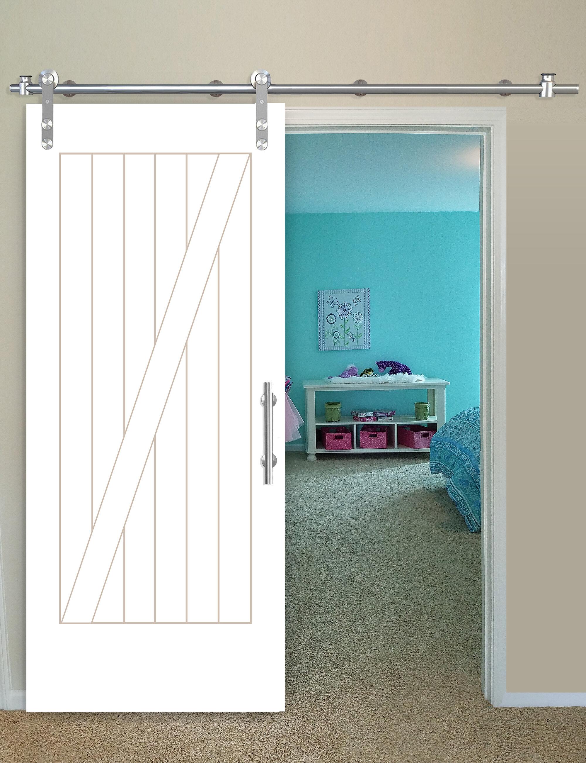 Creativeentryways Paneled Wood Primed Cottage Barn Door With Installation Hardware Kit Wayfair
