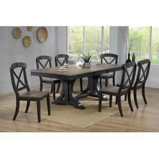 Darby Home Co Debbra 7 Piece Extendable Solid Wood Dining Set