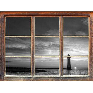 Solitary Lighthouse At Sunset Wall Sticker By East Urban Home