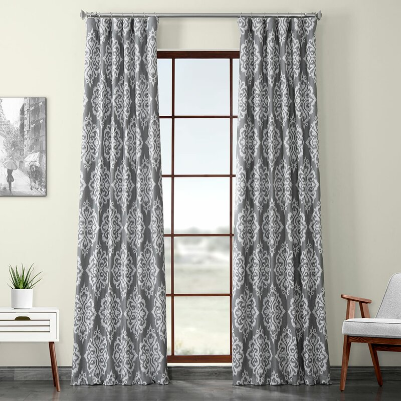 Iberia Printed Textured Ikat Blackout Rod Pocket Single Curtain Panel